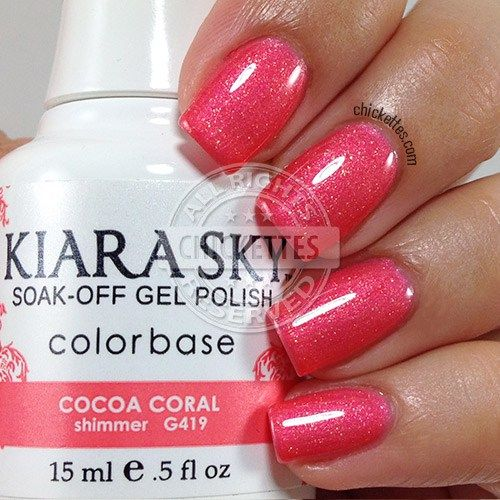 Kiara Sky Cocoa Coral. What a beautiful coral! I love the shimmer in this shade. I haven't seen a color quite like this in any of the other gel polish brands.