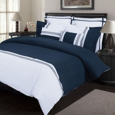 Emma 7 Piece Duvet Cover Set Size: Full/Queen, Color: White/Navy Blue $85.99 by Wayfair