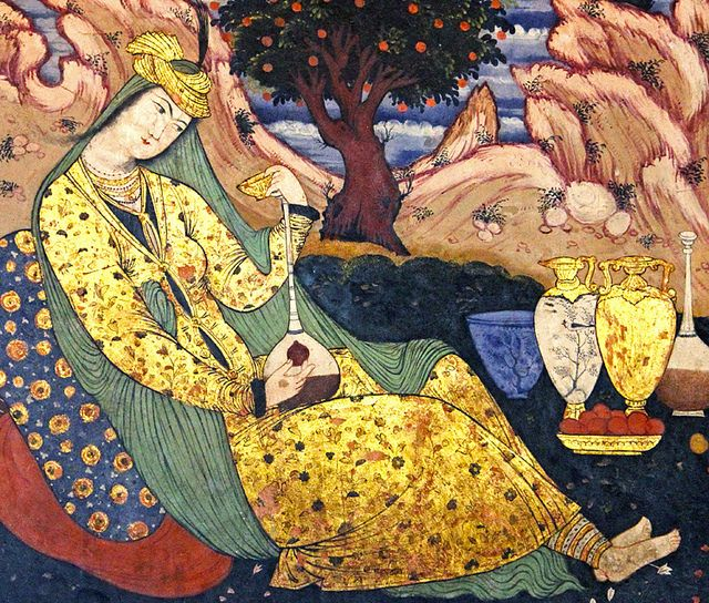 "Safavid painting (captioned ""woman having wine in solitude""... a lovely concept!), Isfahan, Iran by Earth, Water, Air, Fire, via Flickr"
