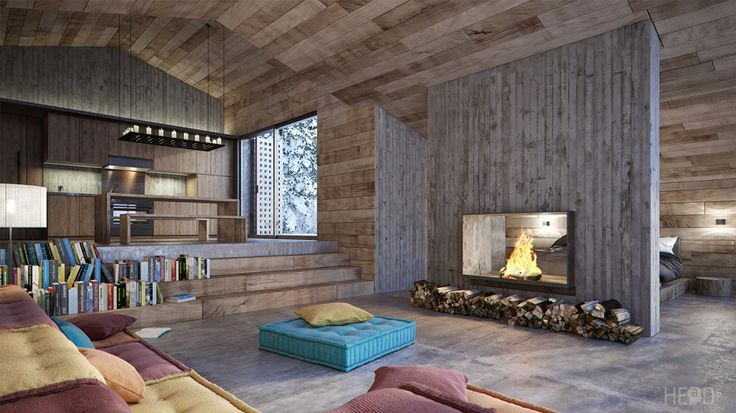 Living room of Black Lake vacation cabin in Montenegro