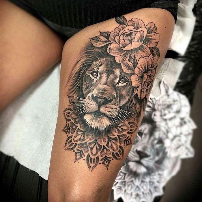 Thigh Tattoo Lion Head Flowers On The Mane Mandala Flower Underneath Lioness Tattoo In 2020 Thigh Tattoo Flower Thigh Tattoos Lion Tattoo On Thigh