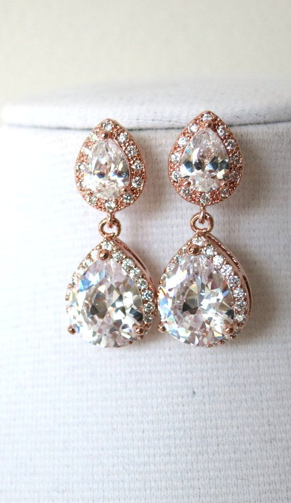 Rose Gold Teardrop Luxe Cubic Zirconia Earring Gifts For Her Earrings Bridal Drop Dangle Pink Weddings Colorm Glitz