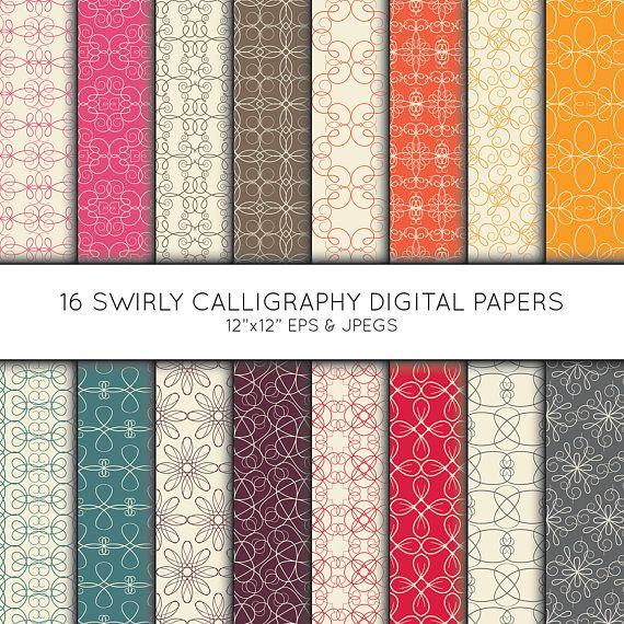 Swirl Digital Paper, Seamless pattern, Scrapbook paper, digital paper pack, digital background, Instant Download, Vector Graphics