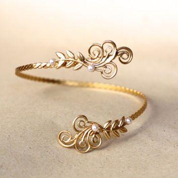Swirls of Joy, Gold Arm Band, Roman Arm Cuff, Bridal Jewellery, Wedding Bracelet, Gold Leaves, Grecian Style, Fairy Arm Bracelet, Bridesmaid
