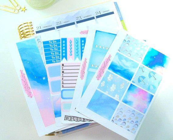 Our Summer Rain will allow you to create a beautiful weekly spread in your planner. Enough to complete a full weekly spread in your planner, with extras!  Smoky blues and greys as well as pastels mixed in with some stormy artwork. I remember laughing till we almost cried  This set includes five sheets of high-quality kiss cut stickers.  Sooo....what do I get?  1) Sampler Sheet including a variety of functional and decorative stickers 2) Sheet of Full Box Checklists 3) Sheet of Decorative…
