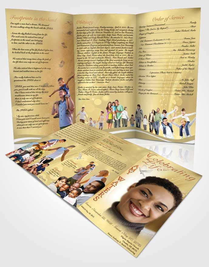 Obituary Template Trifold Brochure Free Spirit Gold Love