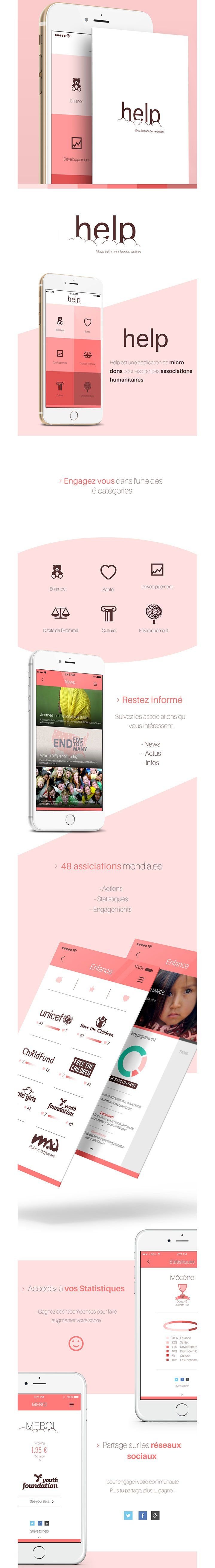 Mobile App / Flat Design app ios iphone smartphone #help #mobile  #ui. If you like UX, design, or design thinking, check out theuxblog.com