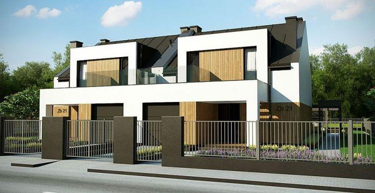 Zb21 Tradycyjny bliźniak z dachem dwuspadowym, nowoczesną bryłą i jednostanowiskowym garażem. Może być pobudowany również jako szeregówka.