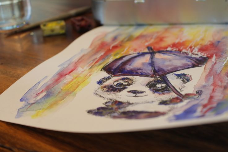 Watercolor painting with Panda. Great picture, original artwork from the cover of my sketchbook.