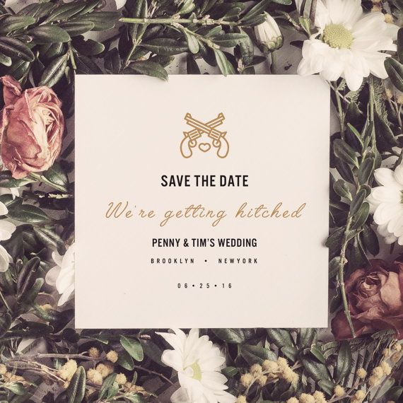Save the Date Card, Hipster Save the Date Design, Modern Wedding Save the Date, New your style Save the Date, Cool Wedding Save the Date