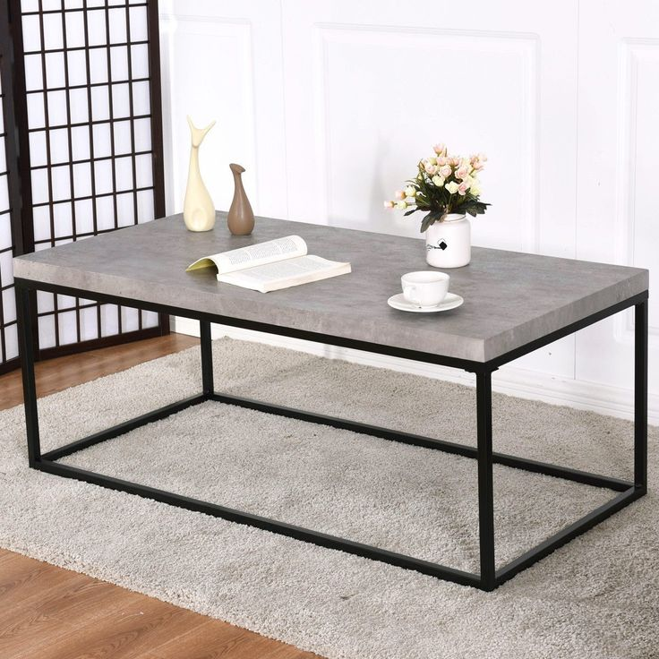 Cement Color Modern Metal Frame Rectangular Coffee Table ...