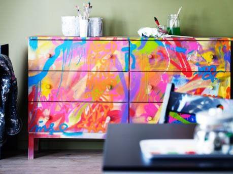 college trend furniture, graffiti,