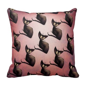 A funny and cute drawing of a little black oriental cat with big soulful eyes on a vintage or retro pink background. Snuggle up with a cute little black oriental cat pattern pillow. From an original cat illustration by Paul Stickland for StrangeStore on Zazzle. Cats love cushions and pillows! Great cat gifts for cat lovers. #strangestore #halloween #black #cats #cats #good #luck #oriental #cats #black #cat #cat #art #funny #cat #cat #pattern #paul #stickland #strange #store #cat #cats #for…