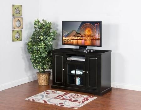 "Laguna Collection 3474B-48 48"" TV Console with Center Speaker Open Space Beehive Glass Door and Adjustable Shelves in Black"