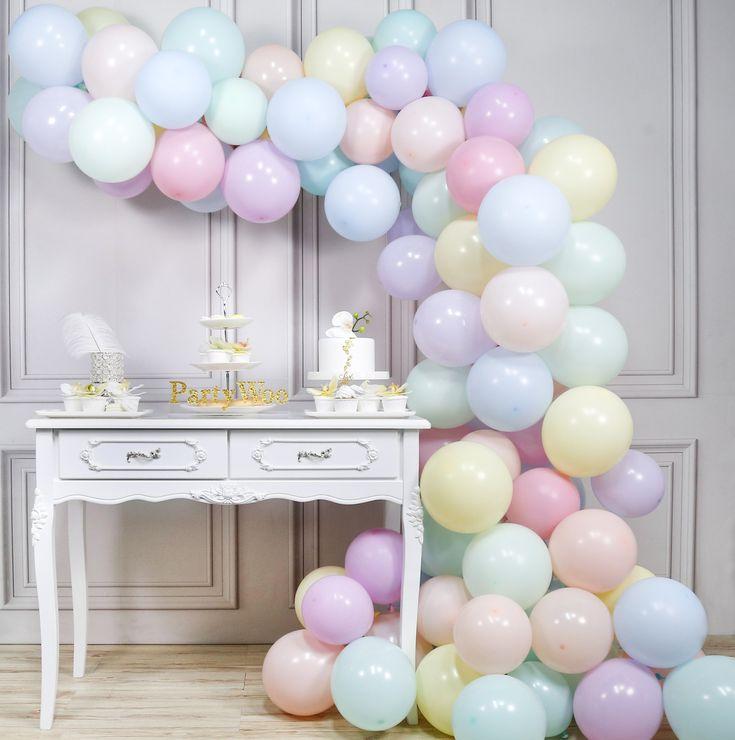 Pastel Balloons, 100 pcs 10 In Pastel Colour Balloons in 8 Colours, Pastel Latex Balloons, Pastel Coloured Balloons for Unicorn Birthday Decoration, Unicorn Party Decoration, Rainbow Birthday