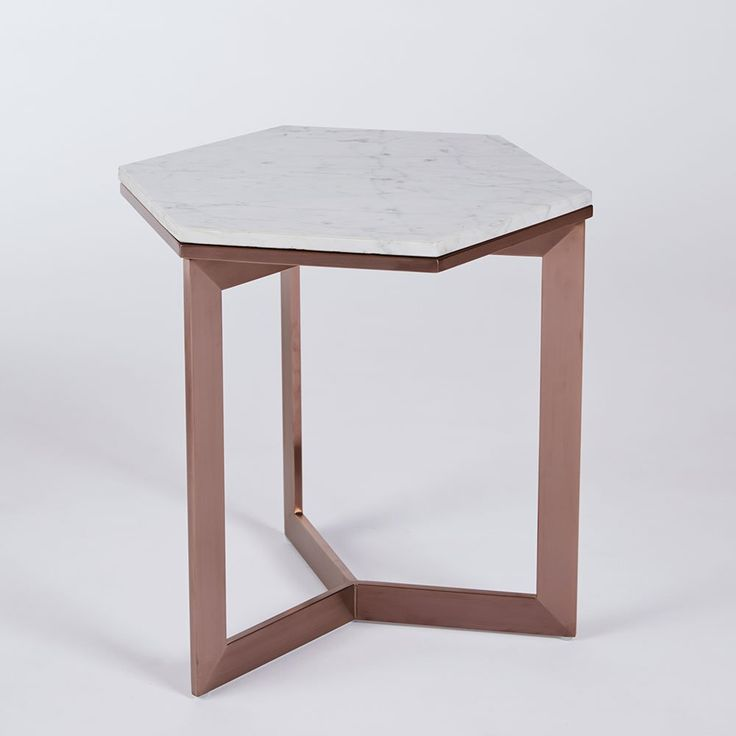 Urban Couture | Rebecca Hex Side Table-Copper Base with Carrara Marble Top | Urban Couture - Designer Homewares & Furniture Online