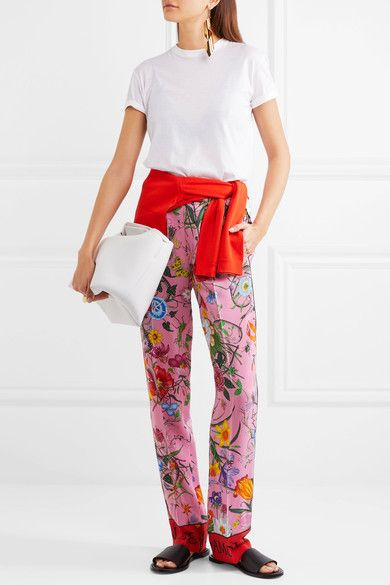 Gucci - Printed Silk Crepe De Chine Wide-leg Pants - Pink - IT44