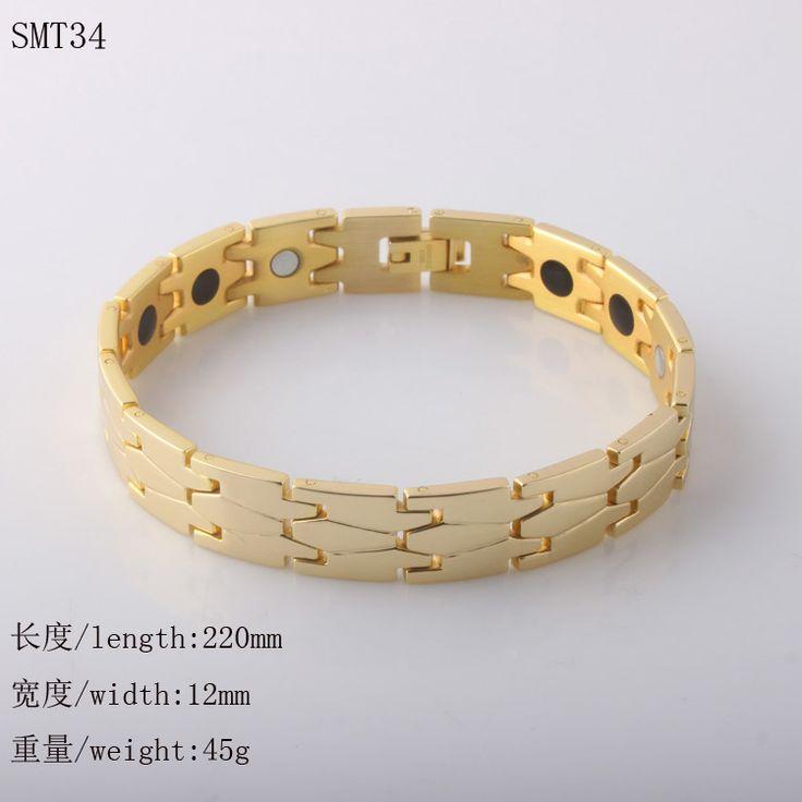 High quality Gold 316l Stainless Steel Mens Bracelets magnetic &germanium bracelet biker jewelry Wholesale