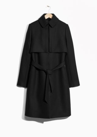 & Other Stories image 2 of Wool Trenchcoat in Black