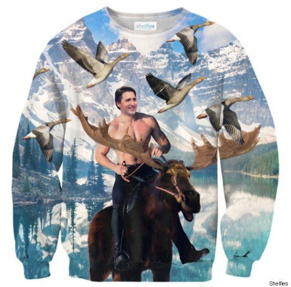 New Justin Trudeau Sweater Shows A Moose-Riding Prime Minister