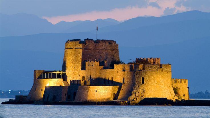 Nauplia, Greece, Bourtzi Island and Fortress at twilight.