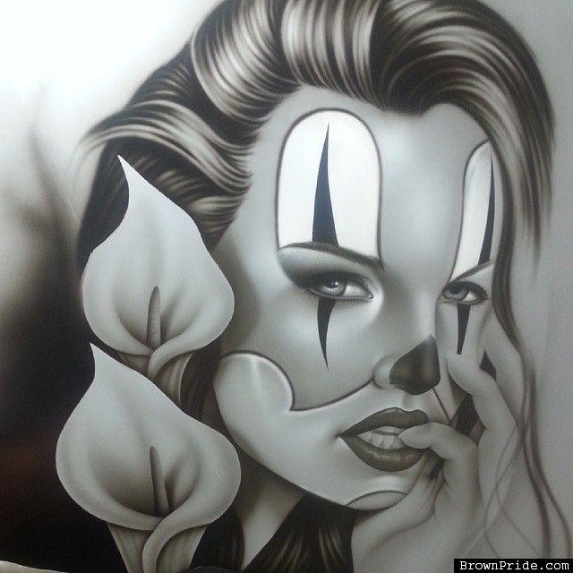 Airbrushed Art by  Sal Elias #airbrush #clown - BrownPride.com Photo Gallery (BP)