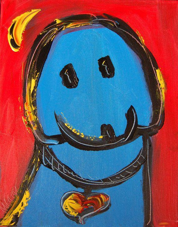 Abstract BLUE DOG Painting Original Heavy Texture by kazavart