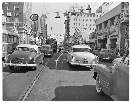 Metropolitan Coach Lines No. 5167. Beverly Hills via Hollywood Blvd. Eastbound on Hollywood Blvd at Ivar St., December 1953. Schwabs Drugstore can be seen at the right.