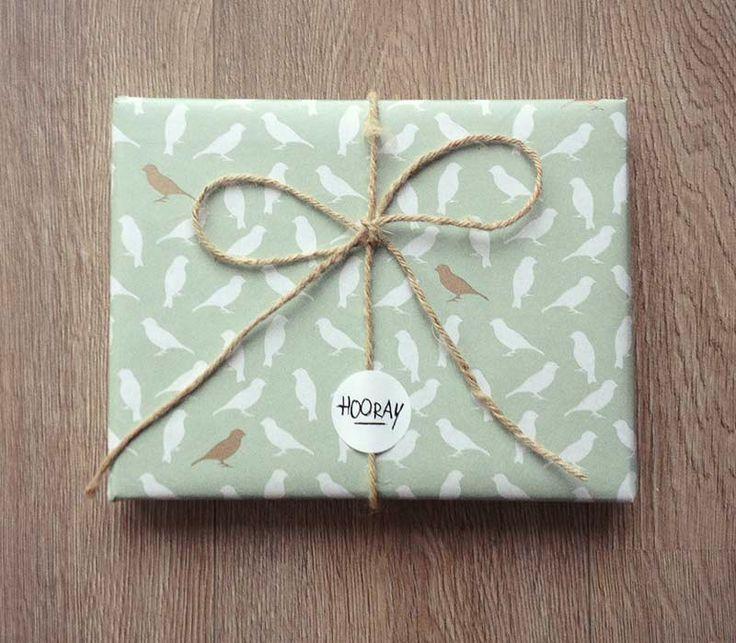 Happy Paper | Cadeaupapier Birdie Mintgroen