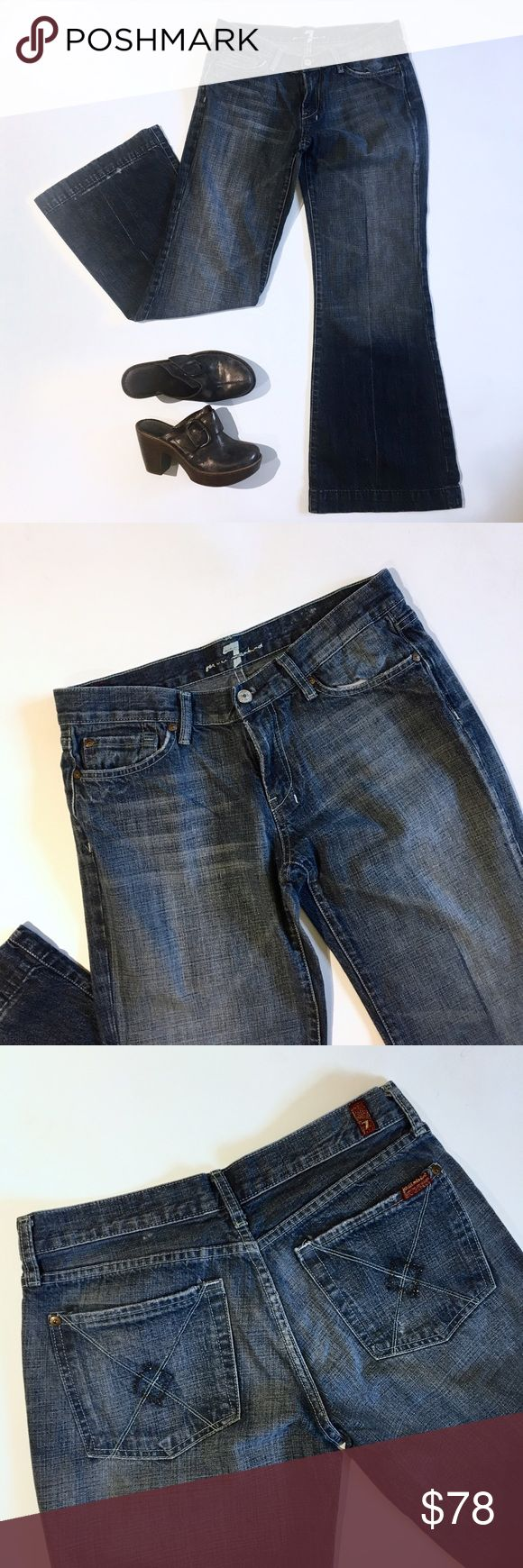 """7 FAM Dojo wide leg trouser jeans 7 for all mankind dojo wife leg trouser jeans with black Swarovski crystals on pocket. Inseam is 30/31"""" approx. leg opening is 23"""" wide. Great used condition except for some wear above hem where the jeans were worn folded.  u115019u-019u.   Add this to a bundle to save 15%. For jewelry pictured, visit my profile for a link to shop. 7 For All Mankind Jeans Flare & Wide Leg"""