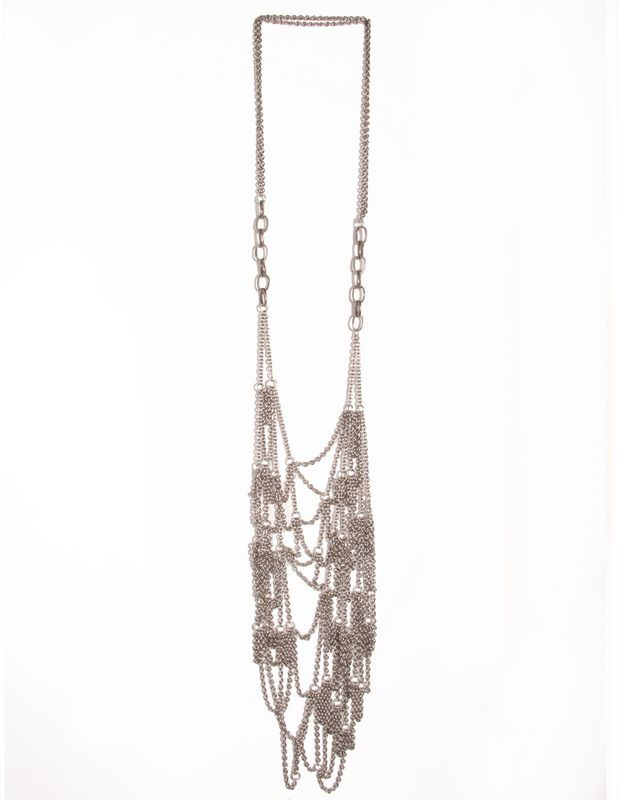 Cult:NL17 $170 A dramatic long deconstructed silver chain web necklace.
