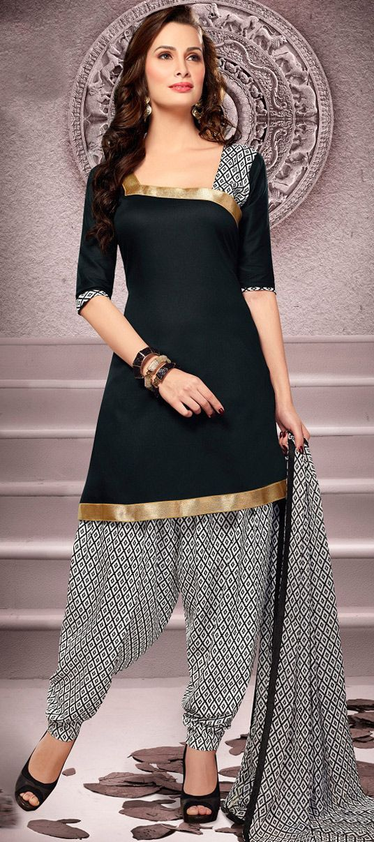 Black Cotton Patiala Salwar Kameez 43460