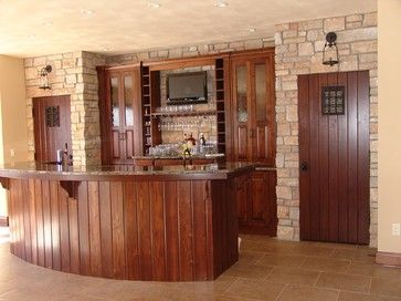 Mission Style Home Bar TV Install - craftsman - Home Bar - Other Metro - Suess Electronics