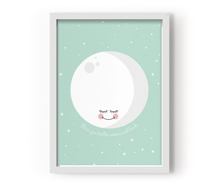 "Posters ""I love you to the moon and back""  Mått: A3  Färg: Mint  Material: Tryckt på 135 grams papper"