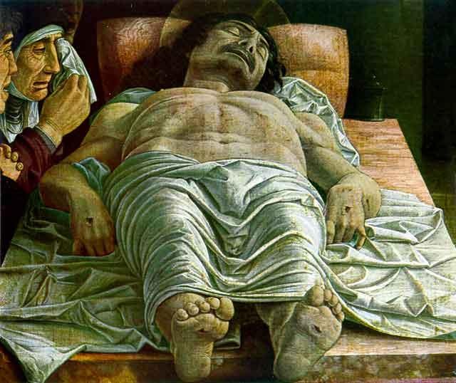 Il cristo del Mantegna. Trovo incredibile il punto di vista: geniale. A Milano pinacoteca di Brera