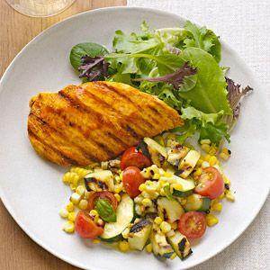 Grilled Buffalo Chicken & Veggie Salad: http://www.familycircle.com/recipe/grilled-buffalo-chicken-veggie-salad/