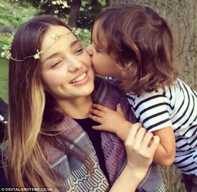 Mother and son time: Miranda Kerr was just like any other mum on Thursday, spending the da...