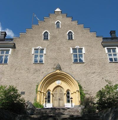 The Suitia Manor dates back to the 15th century; it became a manor in 1420. The manor castle was built in 1540-1545. It was destroyed by Russians by 1730, after which the new wooden main building was built - and it was destroyed by fire in 1758. The manor castle was restored by 1761, reconstructed in 1898-1899 with romantic image of medieval castles and some Neo-Gothic elements. The surrounding garden dates from the 1540s; it is the oldest known garden in Finland.