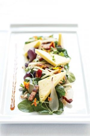 Stayman Apple Salad with Grayson Cheese and Hickory Smoked Bacon. Recipe by Chef Walter Bundy.  Photo by Kip Dawkins.
