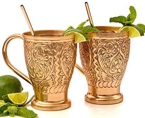 Moscow Mule Pure Copper Mug Sets - Bonus Copper Straws/Stir Sticks for Cocktails, Juleps & Russian Mules. Kamojo Embossed Gift Set of 2