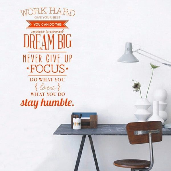 Work Hard English Inspired Proverb Study Room Wall Sticker Inspirational Quotes Wall Art Motivation Wall Wall Art Quotes