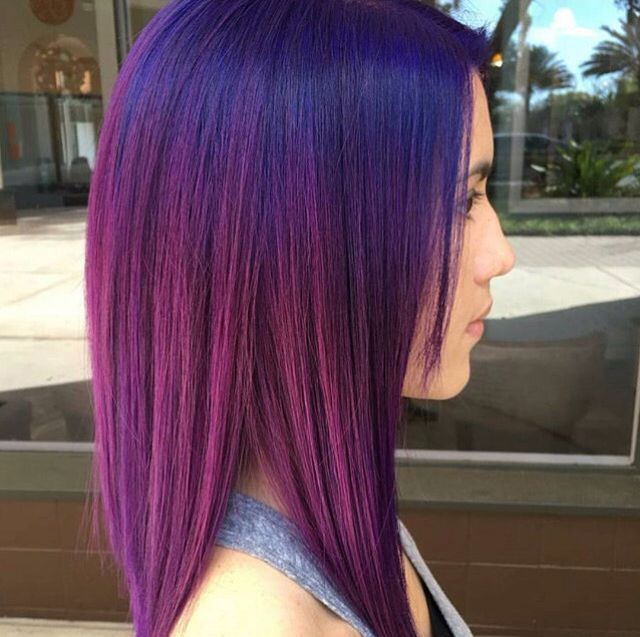 Blue shadow root on purple vivid hair. Pravana violet and blue hair. Hair by @masterpiecehair