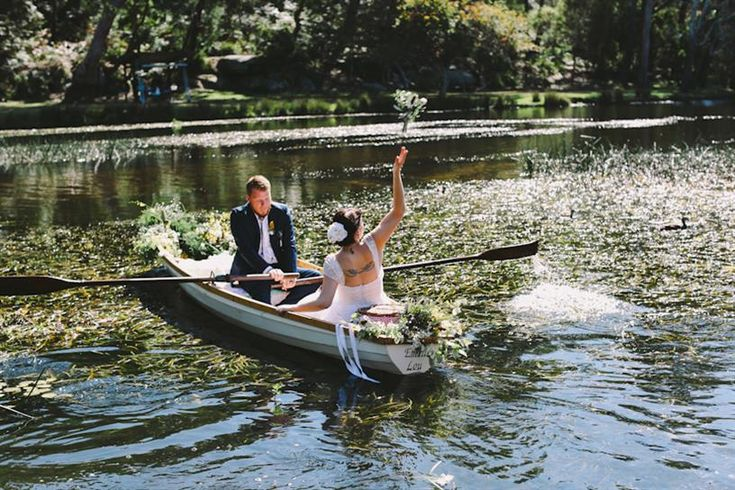Row Boat Getaway and Bouquet Toss
