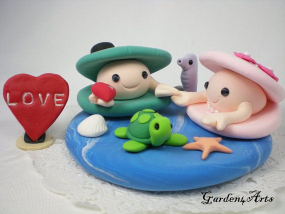 Custom Happy Clam Couple Wedding Cake Topper Hand by Garden4Arts