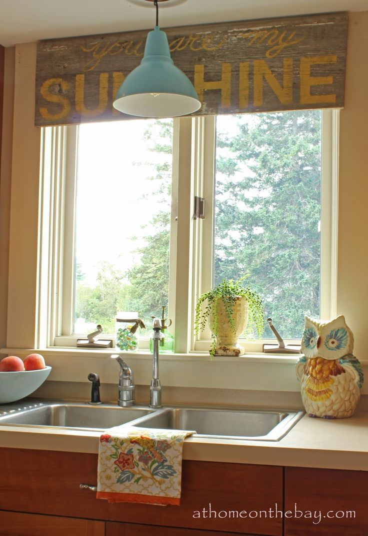 Over the sink kitchen window treatments   best kitchen images on pinterest  kitchen cast iron and hydrangeas