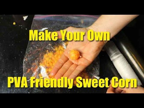 This video explains how to make PVA friendly sweet corn in less than 3 minutes. There are two methods to making sweet corn than won't melt your PVA. One method is to sprinkle table salt and the other it to coat the kernels in a PVA friendly liquid like the Dynamite Bait Hi-Attractant Liquid Attractants.