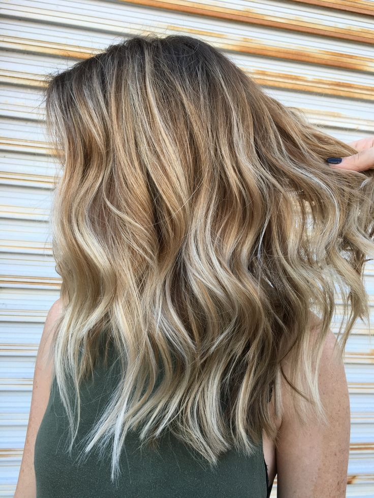 Balayage Layers Medium Length Choppy Blonde Medium