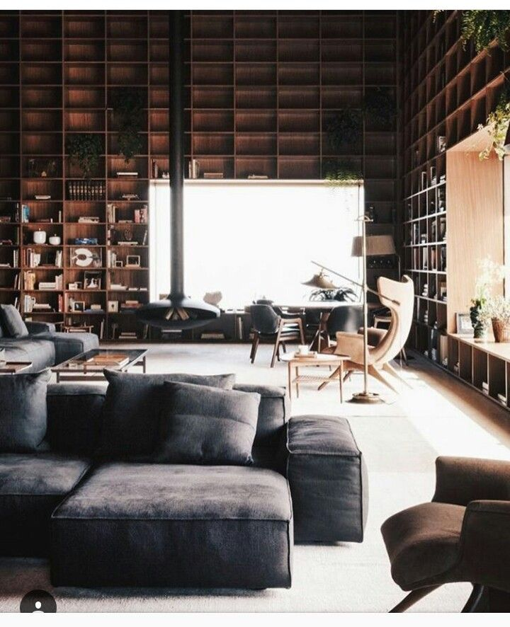 Open concept living/apartment, Shelves/bookspaces floor to ceiling