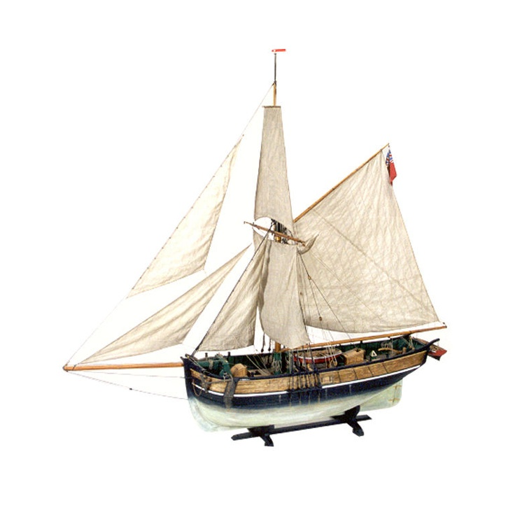"The ""HERO"" Ship in Mahogany and Glass Freestanding Case  USA  20th Century  This model was hand-built by artist Kenneth Britten in 1999 and depicts the English ""Smack"" HERO."