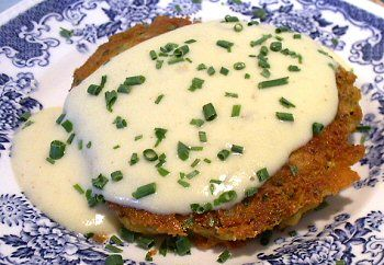 Salmon patties with Newburg sauce!